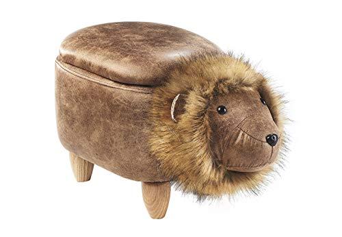 Kobolo Tierhocker Kinderhocker Hocker Lion mit Staufach im liebevollen Löwen-Design (Hocker Scharnier)