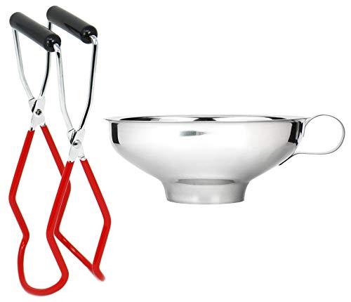com-four® 2-teiliges Einkoch-Set aus Glasheber und Einmachtrichter - Greifzange für heiße Einmachgläser - Trichter zum Abfüllen beim Einkochen (Starterset - 2-teilig)