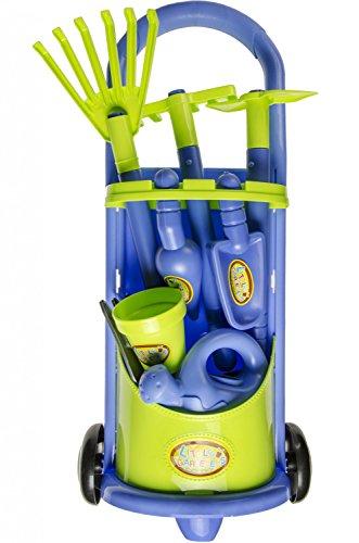 Gartentrolley 10tlg mit viel Zubehör für Kinder Gartenwagen Kinder Gärtner Trolley Gerätewagen Garten Zubehör Sandspielzeug Werkzeug Gartengeräte