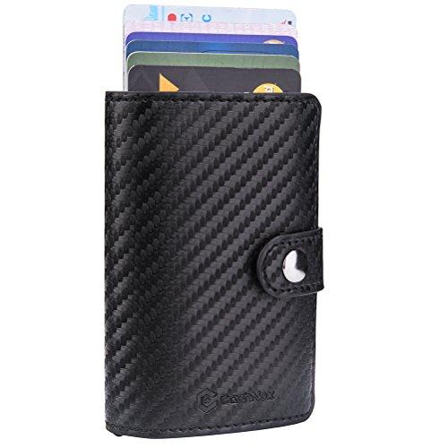 RFID Carte de crédit Titulaire de Automatique Pop-up En aluminium Blocage Étui en cuir Entreprise Slim Mini Porte-monnaie (003Noir Unique)