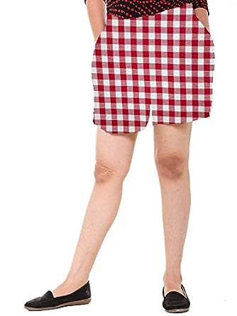 EASY 2 WEAR ® Women Cotton White/Red Checks Shorts (Sizes XS to 4XL)