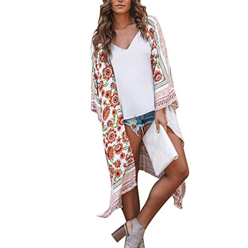 FRAUIT Damen Chiffon Schal Print Kimono Cardigan Elegant Kleid Top Cover Up Bluse Beachwear S-5XL
