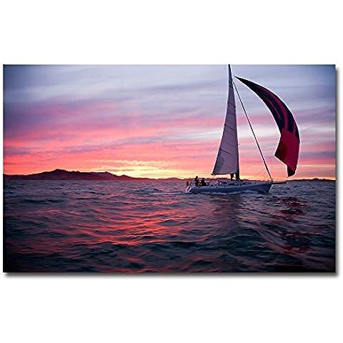 lotuslife arte impreso cuadros puesta de sol Velero en el mar pintura de paisaje sobre lienzo pared decoración, Unframed(16x10Inch)