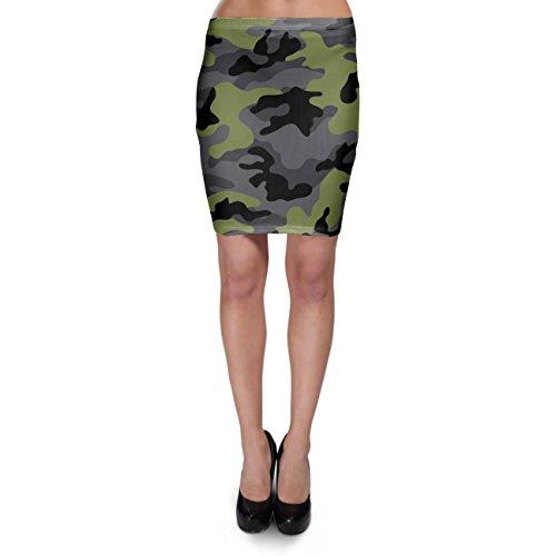 Dark Camouflage Army Green - L - Bodycon Skirt Rock (Army Rock)