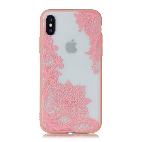 Keyihan iPhone XS/iPhone X Handy Hülle Geprägte Spitze Blume Datura Mandala Henna Blumen Muster Hart Schalen mit Soft Edge Schutzhülle Case Bumper für Apple iPhone X,iPhone XS (5.8