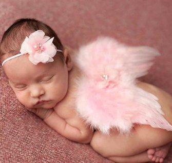 Casadeiy Baby Haarreif mit Blumen, Engelsflügel, Kostüm, Fotografie-Requisiten Rose