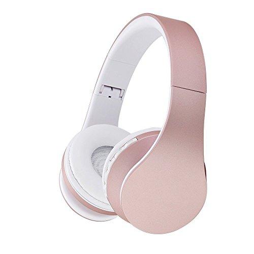 Bluetooth Headsets, EONANT Drahtloser Over-Ear Stereo Headsets Faltbarer Kopfhörer mit Mikrofon (Rosa)