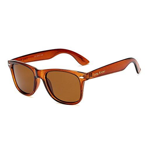 Long Keeper Polarisierte Sonnenbrille Klassische Jahrgang Platz Sonnenbrille für Frauen Männer (Braun)