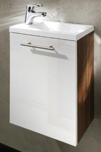 Posseik Waschtisch Alexo hochglanz inklusive Mineralgussbecken (Farbe: Walnussfarben-weiß)