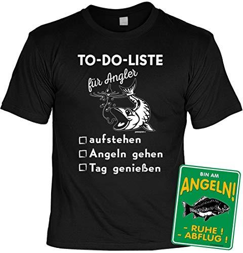 Funshirt Unisex für Angler - to Do List Angler - T-Shirt im Geschenk-Set mit Blechschild, Größe:M