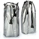 COM-FOUR® 2x Raffreddatore di bottiglie per gli spostamenti - manicotto di raffreddamento per spumante con coulisse - manicotto di raffreddamento per raffreddamento (02 pezzi - 22 x 9 cm - nastro)