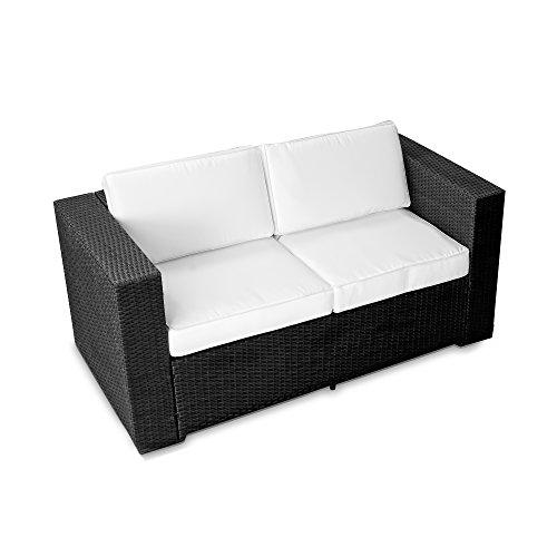 XINRO® (2er Polyrattan Lounge Sofa - Gartenmöbel Couch Bank Rattan - durch andere Polyrattan Lounge Gartenmöbel Elemente erweiterbar - In/Outdoor - handgeflochten - schwarz