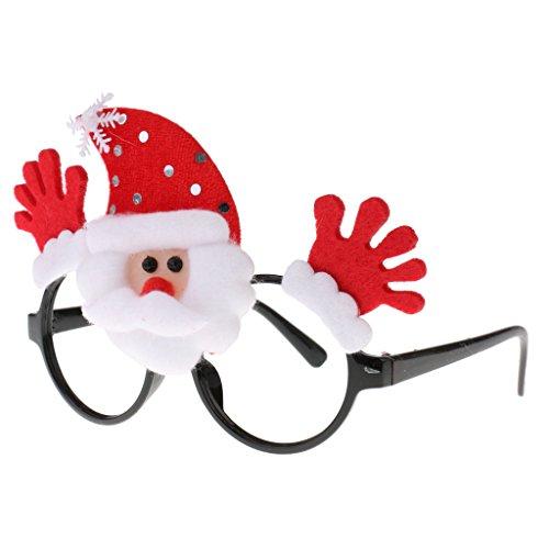 Gazechimp Lustige Weihnachtsmann / Weihnachtsmütze / Geweih Weihnachtsgläser Rahmen für Weihnachten, Silvester, Halloween, Kostüm oder Maskerade - Weihnachtsmann (Paar Von Bilder Kostüme Halloween)