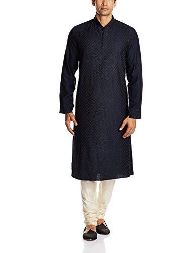 Peter England Men's Kurta Pyjama (8907306235056_PO31580332_100_Black)
