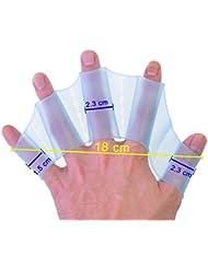 """tmodd Engranaje de silicona nadar aletas mano aletas palmeadas formación guante tamaño L 7.1""""x 2.4x 0.1"""" azul"""