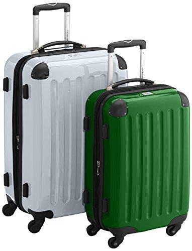 HAUPTSTADTKOFFER - Alex - 2er Koffer-Set Hartschale glänzend, TSA, 65 cm + 55 cm, 74 Liter + 42 Liter, Orange-Aubergine Weiß-Grün