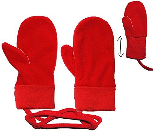Handschuhe / Fleecehandschuhe - Baby - Gr. 9 Monate bis 2 Jahre - rot - Fleece Fäustlinge / Däumlinge mit Daumen - Babyhandschuhe - Erstlingshandschuhe / Fausthandschuh Handschuh Fäustling - Kinder Mädchen Jungen KratzFäustlinge / Däumlinge