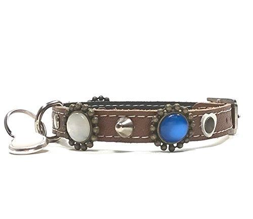Leder Hundehalsband Design Kleine Hunde und Chihuahuas - Halsband Braun Lederhalsband - Ausgefallen mit Rot Weisse und Blaue Steine (Halsband Blau Rot Weiß)