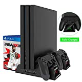 #4: Cooling Fan for Regular PS4/ PS4 Pro/ PS4 Slim, Controller Charging Dock Station with Cooler Vertical Stand, Dual Controller Charger with LED Indicators and 12 Games Storage for PS4/ Pro/ Slm