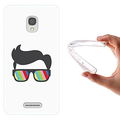 WoowCase Alcatel OneTouch Pop Star Hülle, Handyhülle Silikon für [ Alcatel OneTouch Pop Star ] Sonnenbrille und Nerd Stil Handytasche Handy Cover Case Schutzhülle Flexible TPU - Transparent