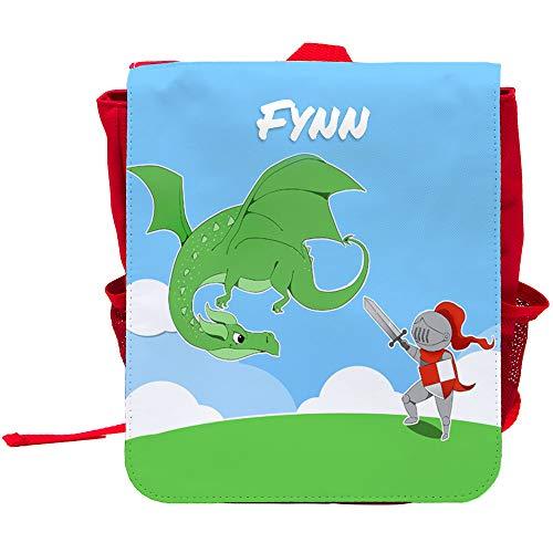 Kinder-Rucksack mit Namen Fynn und schönem Motiv mit Ritter und Drache für Jungen -