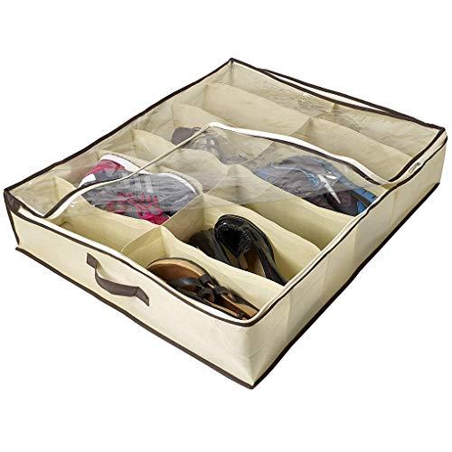 Lorsoul 2ST / Set 12 Grids unter Bett-Schuh-Organisator für Kindererwachsene Schuhe Schrank-Speicher-Organisator Box (Schuh-speicher-box)