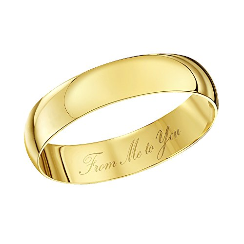 Theia Unisex - Ehering From Me to You graviert 9ct gelbgold 4mm - Gr. 53 (16.9) TH4313-M