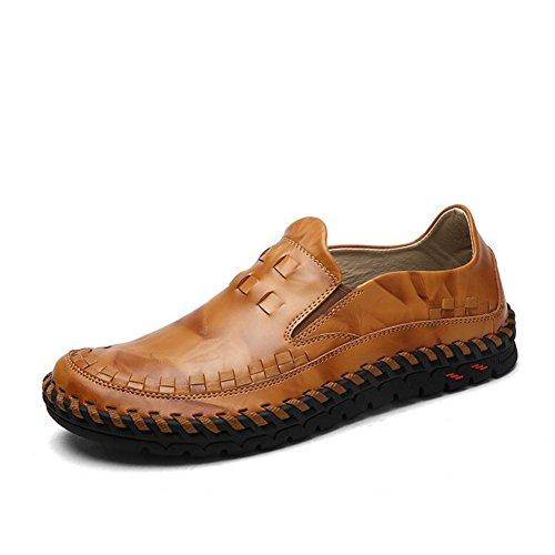 HUAN Herrenschuhe Mens-beiläufige Schuhe Flache Müßiggänger-IM Freien Übungs-Turnschuhe Comfort Driving Shoes (Color : Brown, Size : 41)