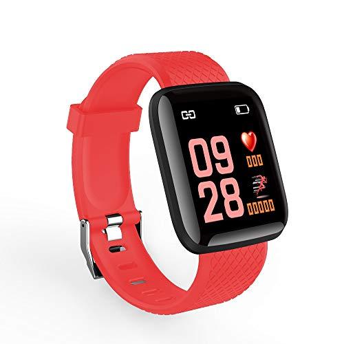 OWSOO Montre Intelligente/Sport numérique/Sport Intelligent BT Montre Moniteur de fréquence cardiaqueTrackomètre/Fitness Tracker Podomètre/pour Android et iOS Téléphone APP Télécommande/Rouge