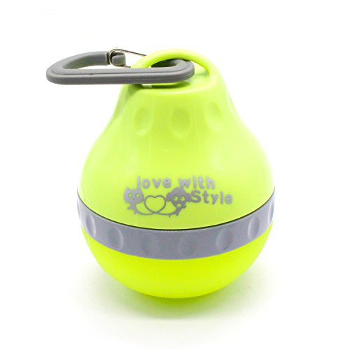Portable Water Feeding Bottle Silicone Folding Pets Bowl Travel Pet Canteen Outdoor Collapsing Kettle with Carabiner Clip for Dogs Cats. (S, Green) (Pet Dog Bowl)