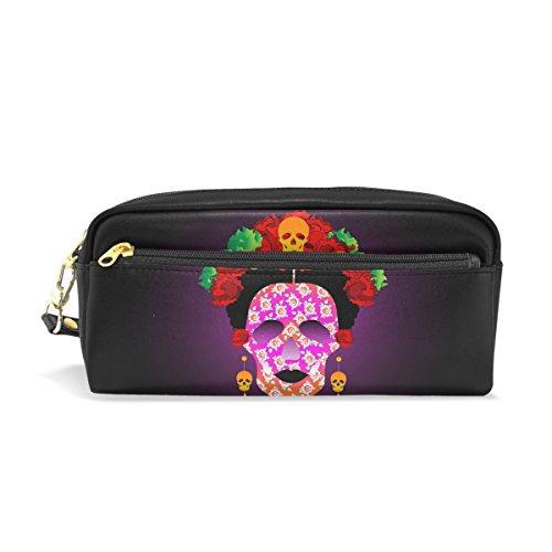 Bleistift Fall, Mexiko Totenkopf Blumenmuster Reise Make-up Pouch Large Wasserdicht Leder 2Fächer für Mädchen Jungen Damen Herren (Mexiko-handy-fällen)