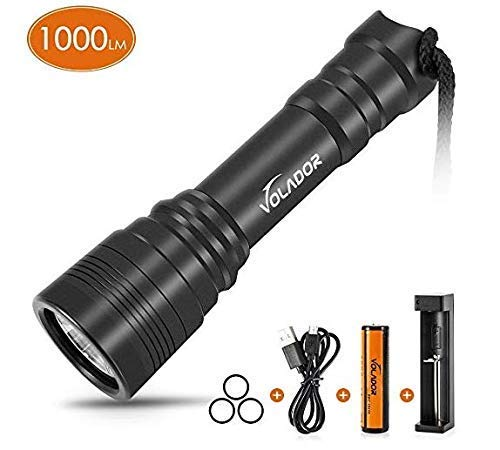 VOLADOR Diving Torch 1000 Lumen Scuba Diving Light Rechargeable Underwater  Flashlight Torch 150 Meters Submersible Lights with 1x 18650 Battery and