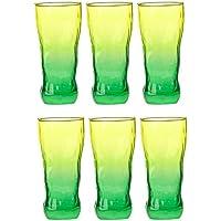 Luminarc 9208335 - Set di 6 bicchieri alti Icy Duos, in vetro, 40 cl, colore verde e giallo