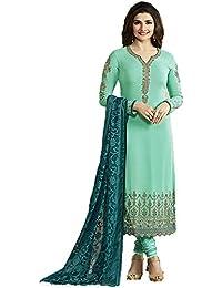 FSTYLETIME Prachi Desai Sky_Blue Embroidered Designer Long Straight Salwar Suit