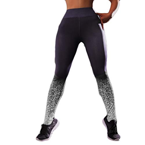 AIni Yogahosen für Damen,Beiläufiges 2019 Digital gedruckte Jacquard-Hüft- und Taillen-Fitness-Yogahosen Yoga Leggings Fitness Sport Hosen Trainingshose (XL,Grau)