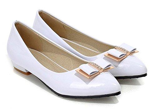 Aisun Femme Chic Nœud Papillon Talon Plat Ballerines Blanc