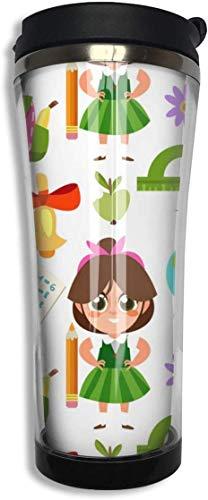 Cartoon Mädchen und Schulmaterial isoliert Edelstahl Kaffeetasse groß, 15 Unzen Travel Cup