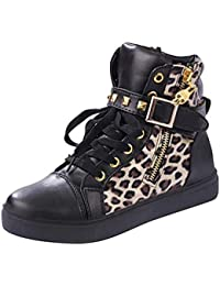 Fuxitoggo - Zapatos de Lona para Mujer con Remaches de Calavera y muelles, Informales, para Mujer, Leopard Black,…