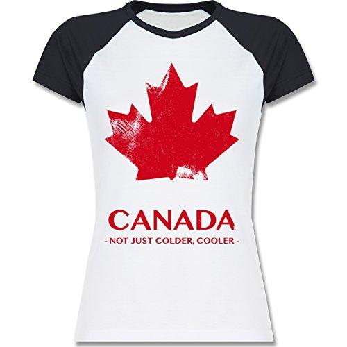 Shirtracer Länder - Canada Vintage Not Just Colder Cooler - Zweifarbiges Baseballshirt/Raglan T-Shirt für Damen Weiß/Navy Blau