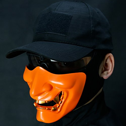 (Alexsport Halbmaske, untere Gesichtsmaske für Airsoft Paintball Shooting Halloween Cosplay Kostüm Party und Film Requisiten, geeignet für Männer und Frauen, von Teenager bis Erwachsene, Orange)