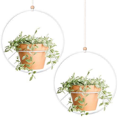 Mkouo 2 Pcs Pflanzenaufhänger Metallrunde hängender Pflanzer Moderne Mitte Jahrhundert Flower Pot Holder Home Decor, (Blumentopf Nicht inbegriffen)