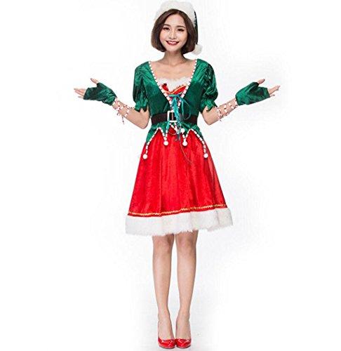 Wald Elf Kostüm - Marcus R Caveggf Frauen-FräUlein Weihnachtsmann-KostüM Weihnachtsparty-KostüM GrüNer Wald Netter Elf Weihnachtsfeier BüHnenperformance KostüMe, l