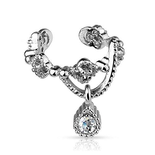 bungsa® Ornament Ear Cuff per orecchini Clip Collana con pendente cristallo argento (Conch Piercing finto Studs Orecchini Orecchini Orecchini placcati uomo donne donna mode)
