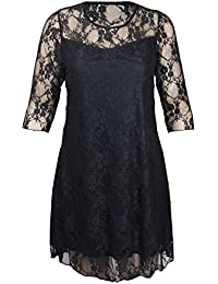 XCLUSIVE COLLECTION NEW WOMENS PLUS SIZE FLORAL LACE OVER LINED TUNIC TOPS EVENING PARTY TOPS 14-28