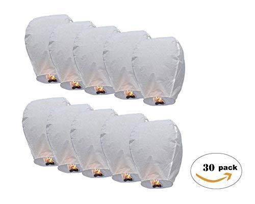 TellementHappyTM Lanterne chinoise volante 100% biodégradable blanche qualité supérieure en papier Le Lampion mesure 90cm*60cm idéal pour vos événements mariage fêtes nouvel an Lot de 30