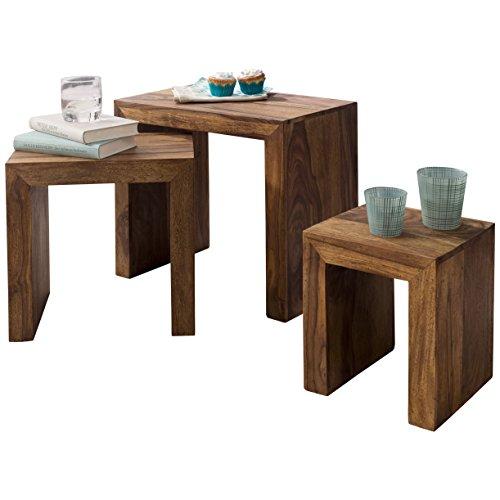 FineBuy 3er Set Satztisch Massivholz Sheesham Wohnzimmer-Tisch Landhaus-Stil Beistelltisch dunkel-braun Naturholz Couchtisch Natur-Produkt Wohnzimmermöbel Unikat Massivholzmöbel Anstelltisch Echtholz