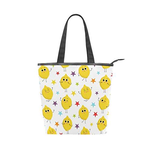 Jeansame Einkaufstasche aus Segeltuch mit Tragegriff, Schultertasche mit Reißverschluss, niedliches Zitrone Emoji