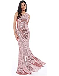 b605a3ba67a Goddiva Rose Long Sequin One Shoulder Evening Maxi Gown Dress Prom Ball  Party 8-14