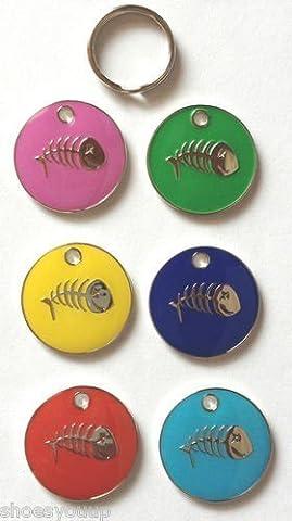 Petite personnalisé coloré en émail Chien Chat Poisson Bones pour animal domestique balises gravé gratuit et d'un choix de couleurs