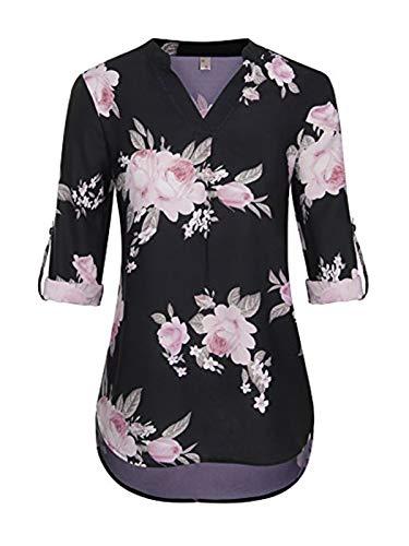 ELFIN Damen Große Größen Freizeit Lange Ärmel V-Ausschnitt Chiffon Bluse Locker Shirt Elegante Frauen Tunika Tops Oberteile (Blumen pink, M) -